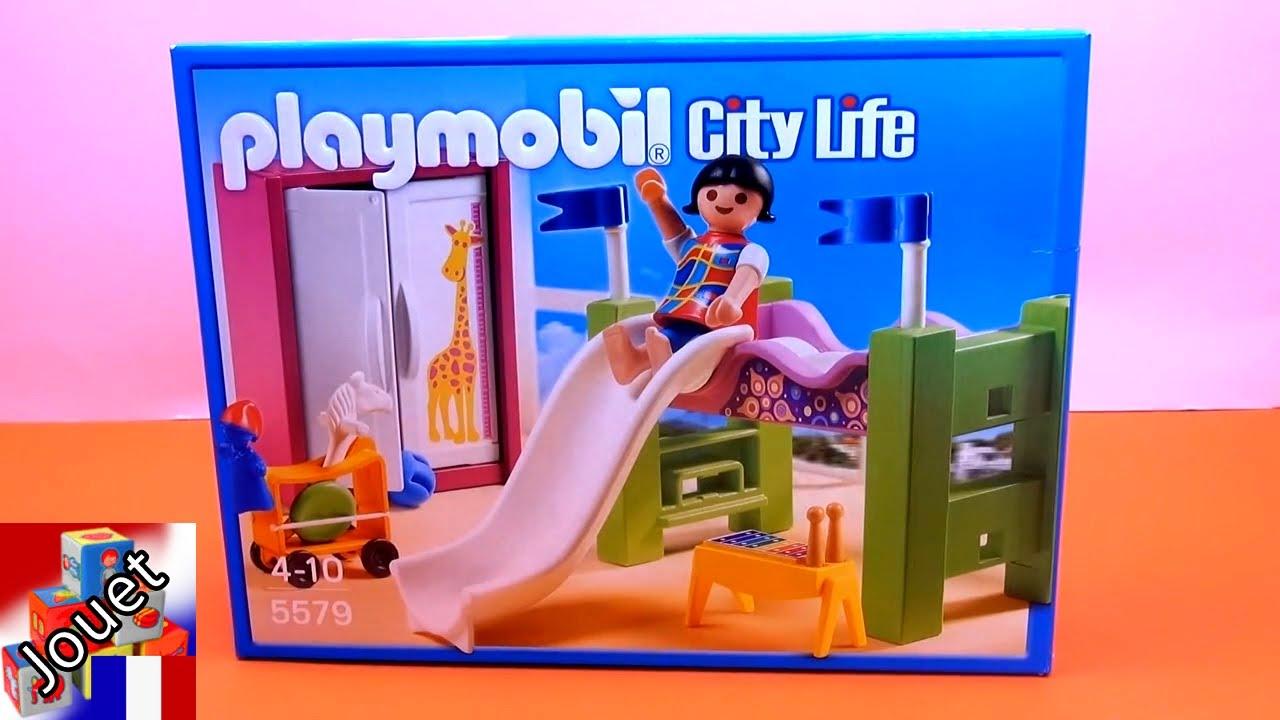Playmobil city life chambre coucher d enfant avec un lit for Playmobil chambre enfant