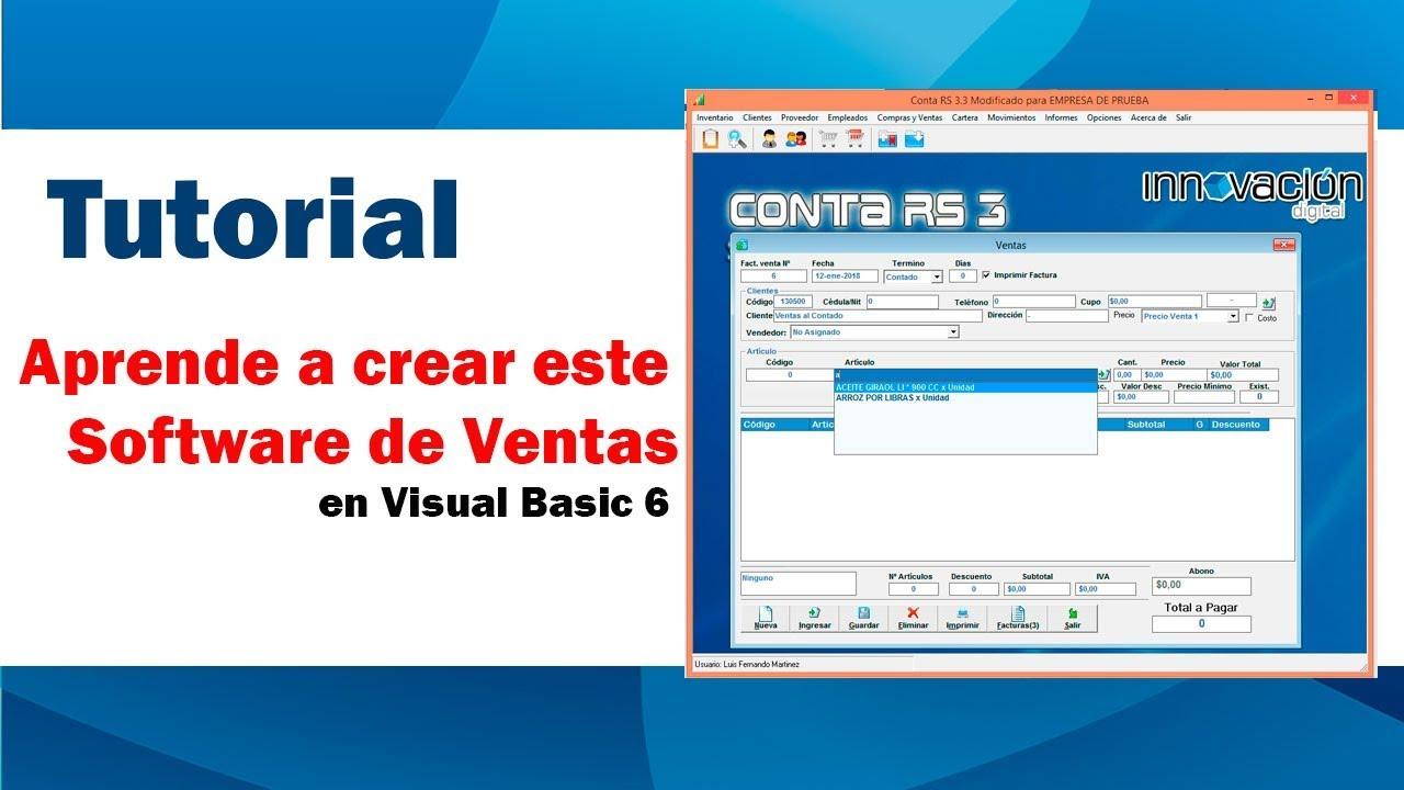 e0932034cdcaa Software de Facturación y Ventas hecho en Visual Basic 6 - YouTube