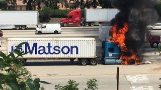Matson Truck Fire July 5, 2017 60 Freeway between Paramount and San Gabriel Blvd Firetruck on scene