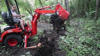 Kubota BX23S BXPANDED Backhoe Thumb - First Use - Stump Removal