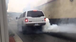Excursion burnout digs hole in asphalt