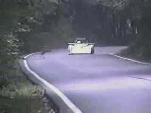 Race car hits a deer (slowmotion)