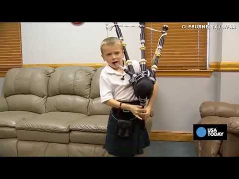 Selftaught 7yrold shocks family with bagpipe skills