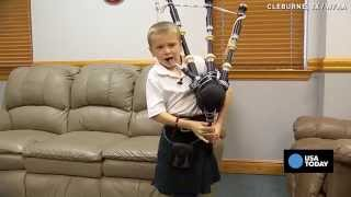 self taught 7 yr old shocks family with bagpipe skills