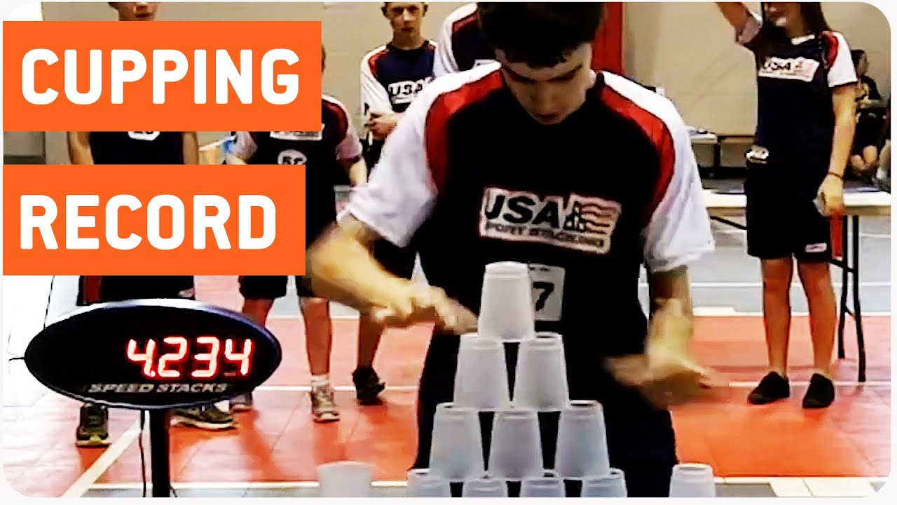 fastest cup stacker sets new world record cup stacking youtube