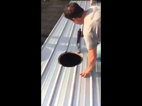 How To Install A Power Air Fan On A Metal Roof Youtube