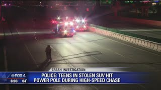 Teens in stolen SUV hit power pole during police chase
