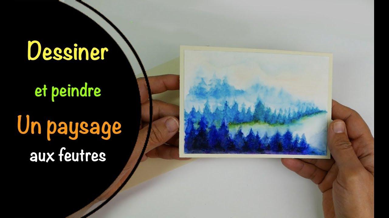 comment dessiner et peindre un paysage de sapins aux feutres ecoliers