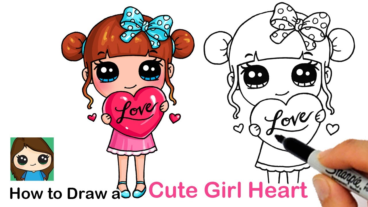 How to Draw a Cute Girl Holding a Heart ❤️