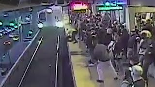 Transit worker saves man who fell on train tracks