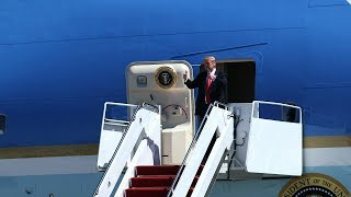 President Donald Trump arrives at PBIA aboard Air Force One