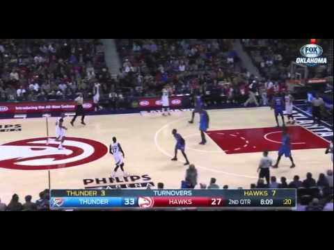 Kevin Durant coast-to-coast spikes dunk: Oklahoma City Thunder at Atlanta Hawks