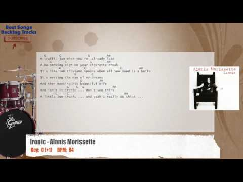 Ironic - Alanis Morissette Drums Backing Track with chords and lyrics