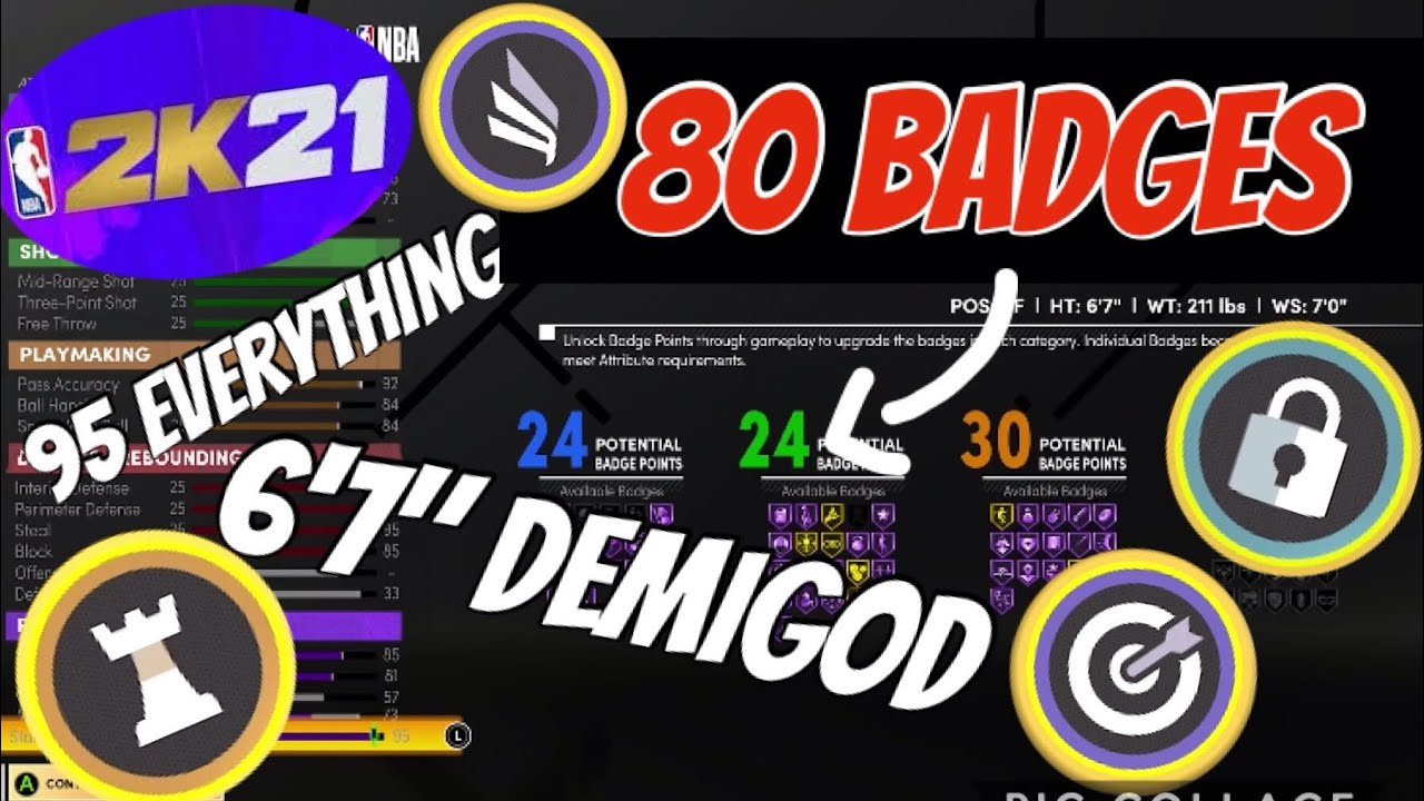 *80 BADGE UPGRADES* DEMIGOD NBA 2K21 NEXT GEN POINT FORWARD BUILD Two Way Sharp Slasher Playmaker OP