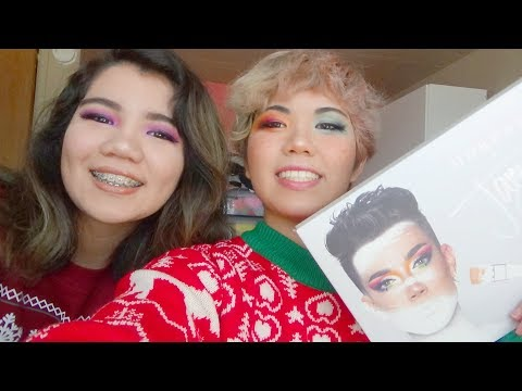 using james charles palette in dan and phil christmas sweaters with sissy :) thumbnail