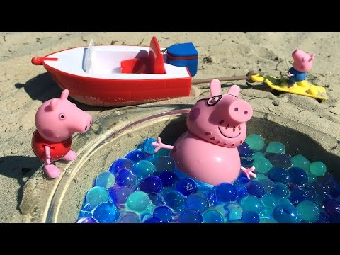 Свинка Пеппа с семьей путешествует на лодке. Развивающее видео для детей. Peppa pig toy