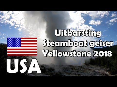 USA Eruption Steamboat Geyser in Yellowstone 2018