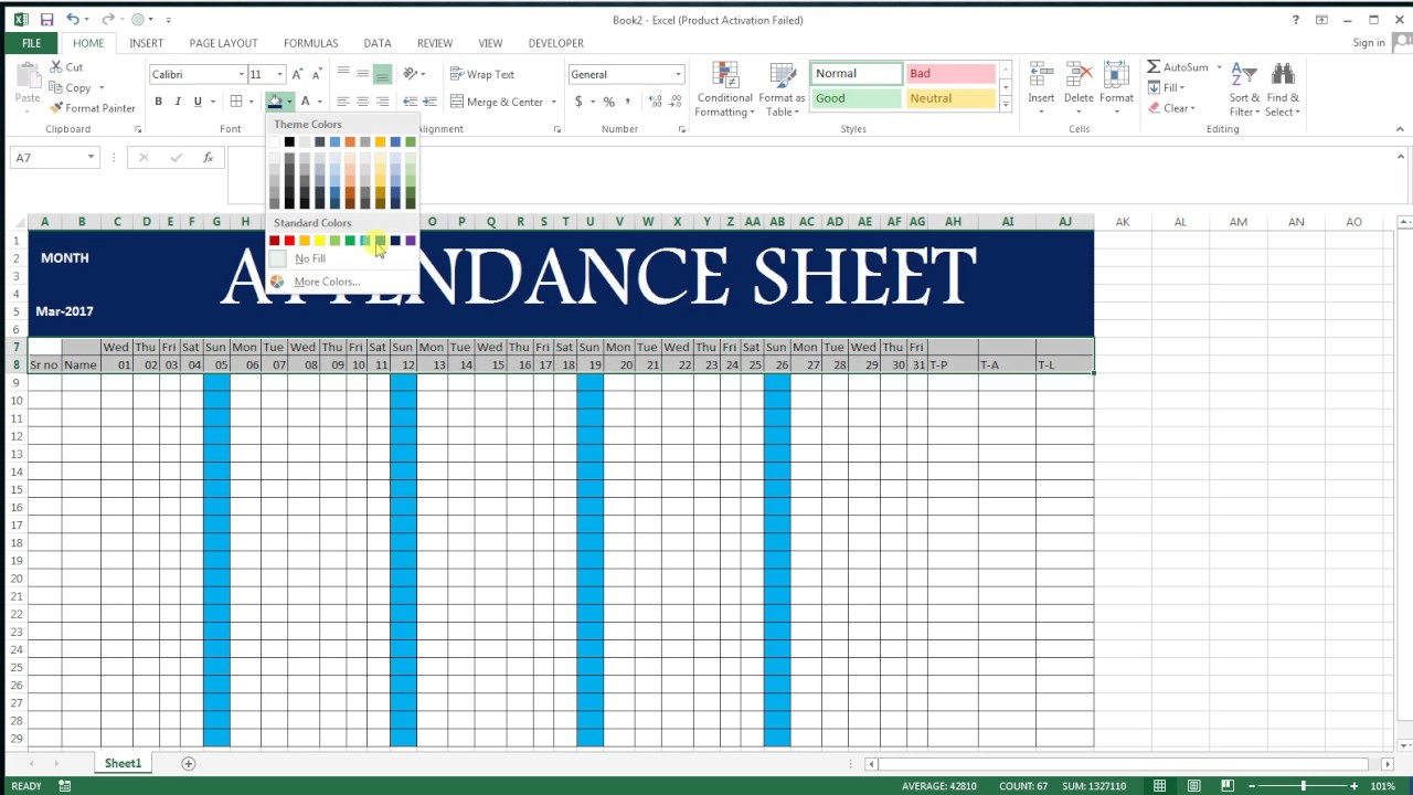 how to make attendance sheet in excel   17 basic excel sheet