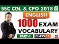 1000 Exam Vocabulary |  Part 1 | Class 3 | English | SSC CGL | CPO 2018