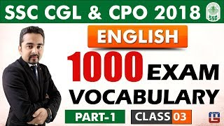 1000 Exam Vocabulary |  Part 1 | Class 3 | English | SSC CGL | CPO 2018