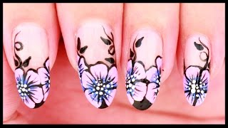 Pink & Blue Ombre Flowers nail art
