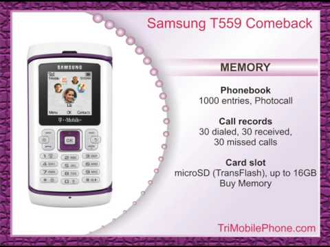 Samsung T559 Comeback Mobile Phone Specification, Features and Slide show