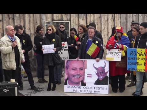 Rassemblement solidaire contre la corruption en Roumanie. Paris/France - 19 Février 2017