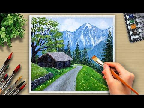 Acrylic Painting House on Mountain Landscape/ #57 Acrylic Art.