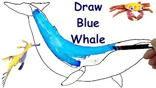 How to Draw Blue Whale 🐋  Draw Animals - Coloring Pages - Kids Learn Drawing