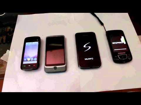 Startup Comparison HTC Desire Z, Samsung Galaxy S, Nokia 5800, Samsung i7500