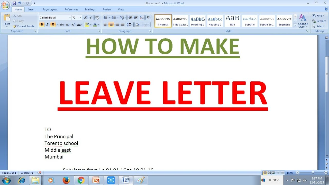 HOW TO MAKE LEAVE LETTER   YouTube  Format For Leave Application