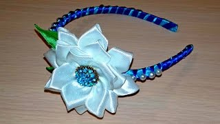 Ободок с цветком лотоса и бусинами в технике канзаши - МК