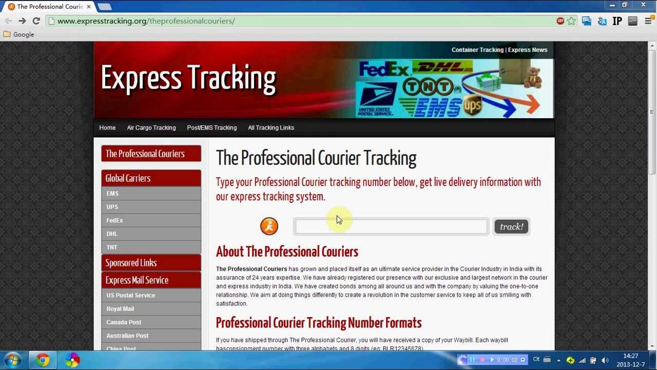 professional couriers tracking