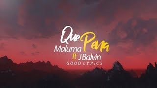 Maluma, J Balvin | QUE PENA ( Video Lyric ) | Good Lyrics
