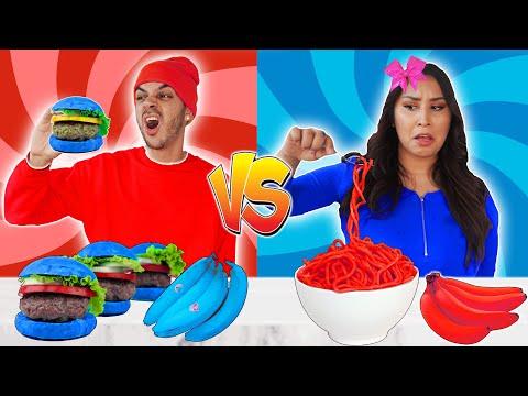 RED FOOD VS BLUE FOOD CHALLENGE!