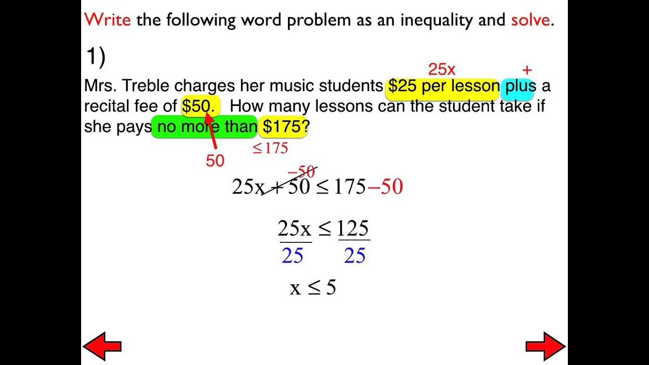 worksheet Two Step Inequalities 29a word problems with two step inequalities youtube inequalities
