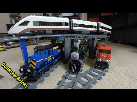 Thumbnail: LEGO Train Track Setup! Passenger, Cargo and Steam Trains, with Slopes and Bridges! Fills Two Rooms!
