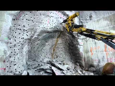 Brokk with Rock Splitter in ventilation tunnel
