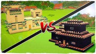 👉 Casa de PORTAL DEL END vs casa de MESA DE ENCANTAMIENTOS - MINECRAFT