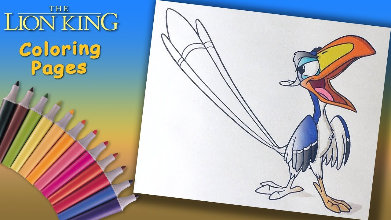 The Lion King Coloring Book For Kids How To Coloring Zazu Youtube