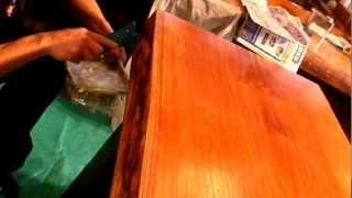 木の防水,保護コーティング,欅木製テーブルにGM-1508他,エポキシ13-13-21-15min