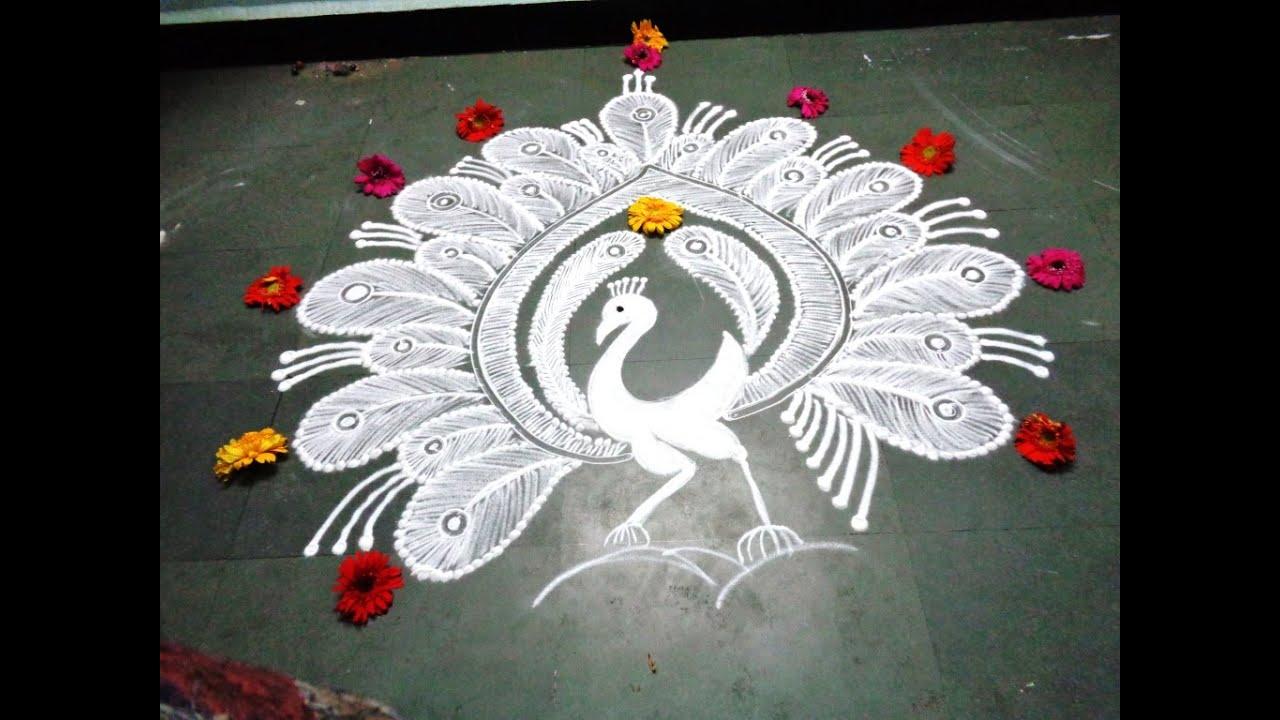 how to make white peacock rangoli - YouTube