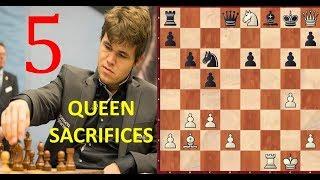5 Greatest QUEEN SACRIFICES by Magnus Carlsen!