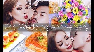 結婚2周年記念日|お家手作りディナー|出会った当時の写真公開♡2nd Wedding Anniversary | family Vlog | dinner