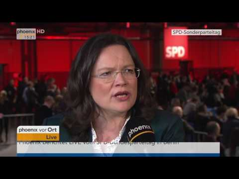 Sonderparteitag der SPD: Andrea Nahles im Interview am 19.03.2017