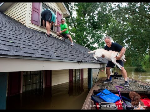 Water rescue in East Baton Rouge Parish by off-duty Lafourche Sheriff deputies after historic floods