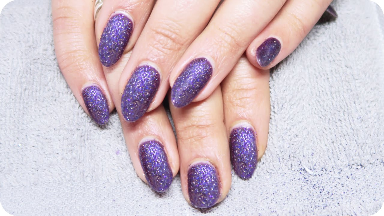 matte purple glitter nails