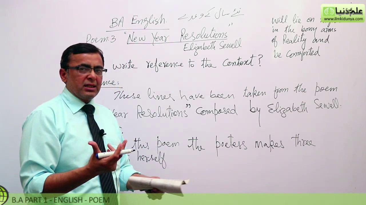 BA poem New Year Resolution Lecture 2 BA Part 1 - BA English Book 1 ...