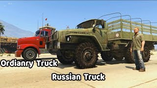 Russian Truck vs Ordinary Truck | Spintires Mudrunner Truck in GTA V