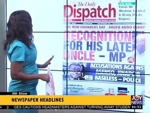 AM Show Newspaper Headlines on JoyNews (19-9-17)